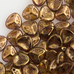 50 Czech 8x7mm Petal Crystal Bronze Picasso Beads (00030BT)