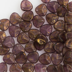 50 Czech 8x7mm Petal Tanzanite Copper Picasso Beads 20510CT
