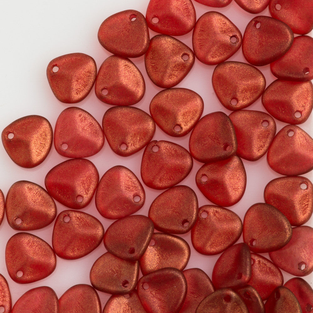 50 Czech 8x7mm Petal Halo Cardinal Beads 29256