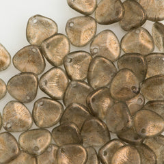 50 Czech 8x7mm Petal Halo Linen Beads 29270