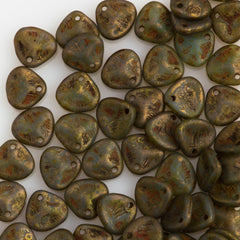 50 Czech 8x7mm Petal Milky Peridot Copper Picasso Beads 61100CT