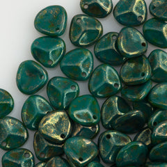 50 Czech 8x7mm Petal Persian Turquoise Bronze Picasso Beads (63150BT)