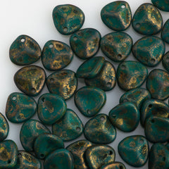 50 Czech 8x7mm Petal Persian Turquoise Copper Picasso Beads (63150CT)