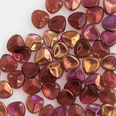 50 Czech 8x7mm Petal Fucshia Twilight Beads (70350W)