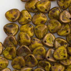 50 Czech 8x7mm Petal Opaque Yellow Copper Picasso Beads 83120CT