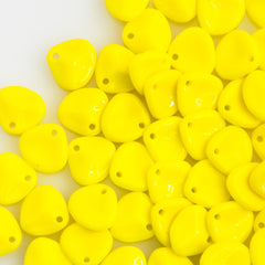 50 Czech 8x7mm Petal Opaque Yellow Beads 83120