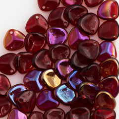 50 Czech 8x7mm Petal Siam Ruby Twilight Beads (90080W)