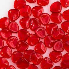 50 Czech 8x7mm Petal Siam Ruby Beads (90080)
