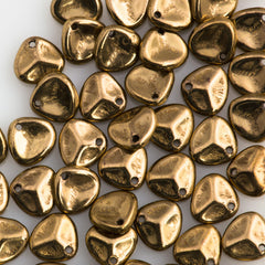 50 Czech 8x7mm Petal Bronze Beads (90215)