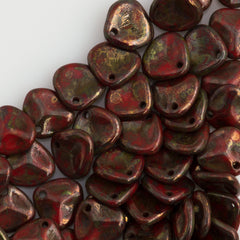 50 Czech 8x7mm Petal Opaque Red Bronze Picasso Beads 93200BT