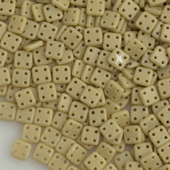 CzechMates 6mm Four Hole Quadratile Antique Beige Beads 15g (13060)