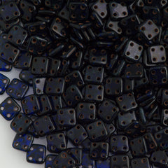 CzechMates 6mm Four Hole Quadratile Cobalt Picasso Beads 15g (30090T)