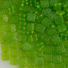 CzechMates 6mm Four Hole Quadratile Milky Dark Peridot Beads 15g (51010)