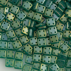 CzechMates 6mm Four Hole Quadratile Atlantis Green Luster Iris Beads 15g (52060LR)