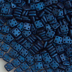 CzechMates 6mm Four Hole Quadratile Metallic Suede Blue Beads 15g (79031)