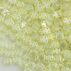 CzechMates 6mm Four Hole Quadratile Lemon Luster Iris Beads 8g Tube (81000LR)
