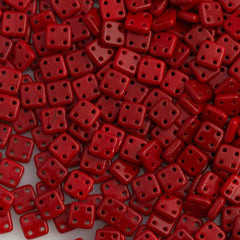 CzechMates 6mm Four Hole Quadratile Opaque Red Beads 15g (93200)