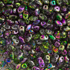MiniDuo 2x4mm Two Hole Beads Crystal Magic Violet Green 8g Tube (00030MVG)