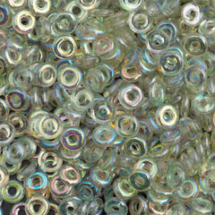 Czech O Beads Crystal Green Rainbow 15g (98539)