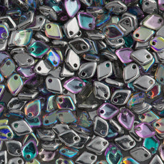 Czech Dragon Scale Beads Crystal Silver Rainbow 15g (98530)