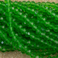 100 Faceted Round 4mm Emerald Beads