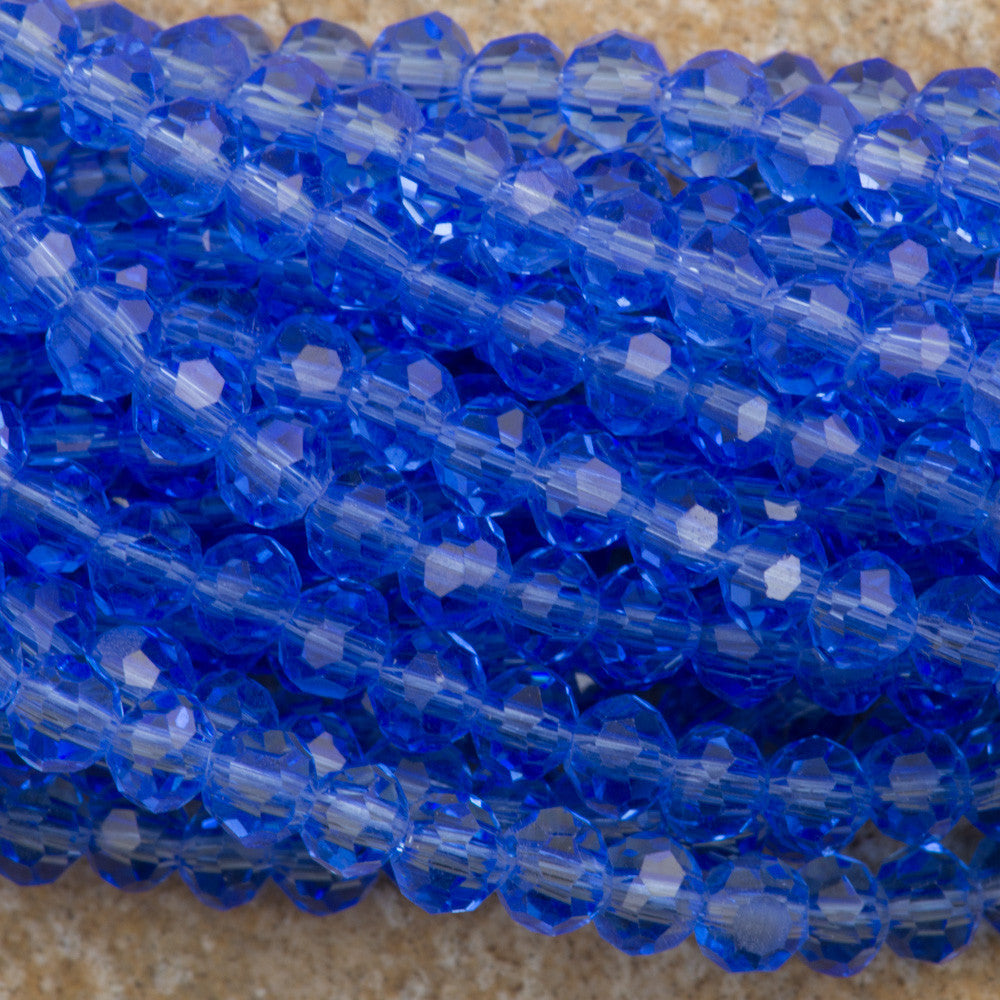 100 Faceted Round 4mm Light Sapphire Beads
