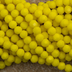 100 Faceted Round 4mm Opaque Yellow Beads
