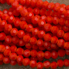 100 Faceted Round 4mm Opaque Orange Beads