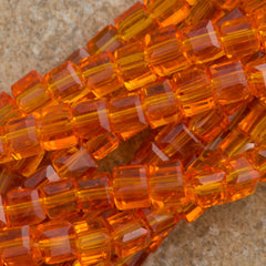 100 Faceted Cube 4mm Tangerine Beads