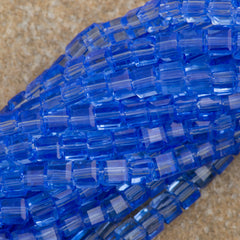 100 Faceted Cube 4mm Light Sapphire Beads