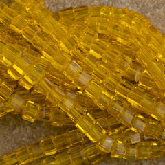 100 Faceted Cube 4mm Butterscotch Beads