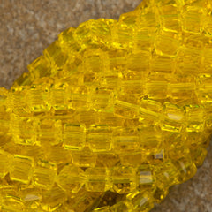 100 Faceted Cube 4mm Candle Glow Beads