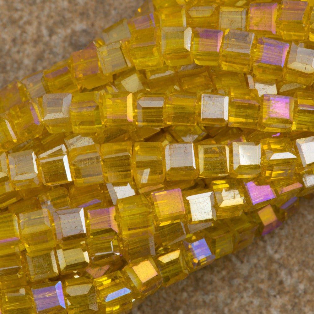 100 Faceted Cube 4mm Butterscotch AB Beads