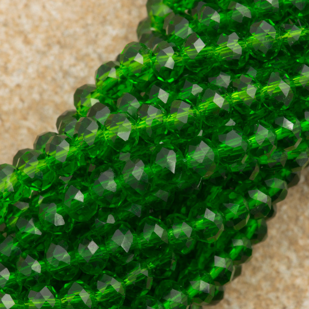 100 Faceted Rondelle 3x4mm Emerald Beads
