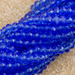 100 Faceted Rondelle 3x4mm Sapphire Beads