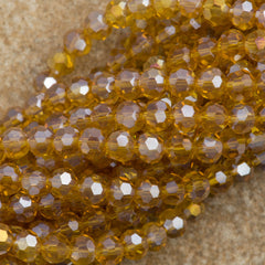 100 Faceted Round 4mm Light Colorado Topaz AB Beads