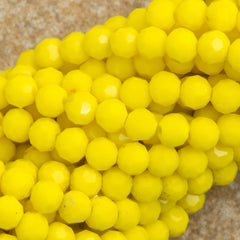 100 Faceted Round 4mm Opaque Yellow Luster Beads