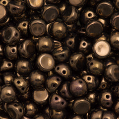 CzechMates 7mm Cabochon Two Hole Beads Dark Bronze 6.7g Tube (14415)