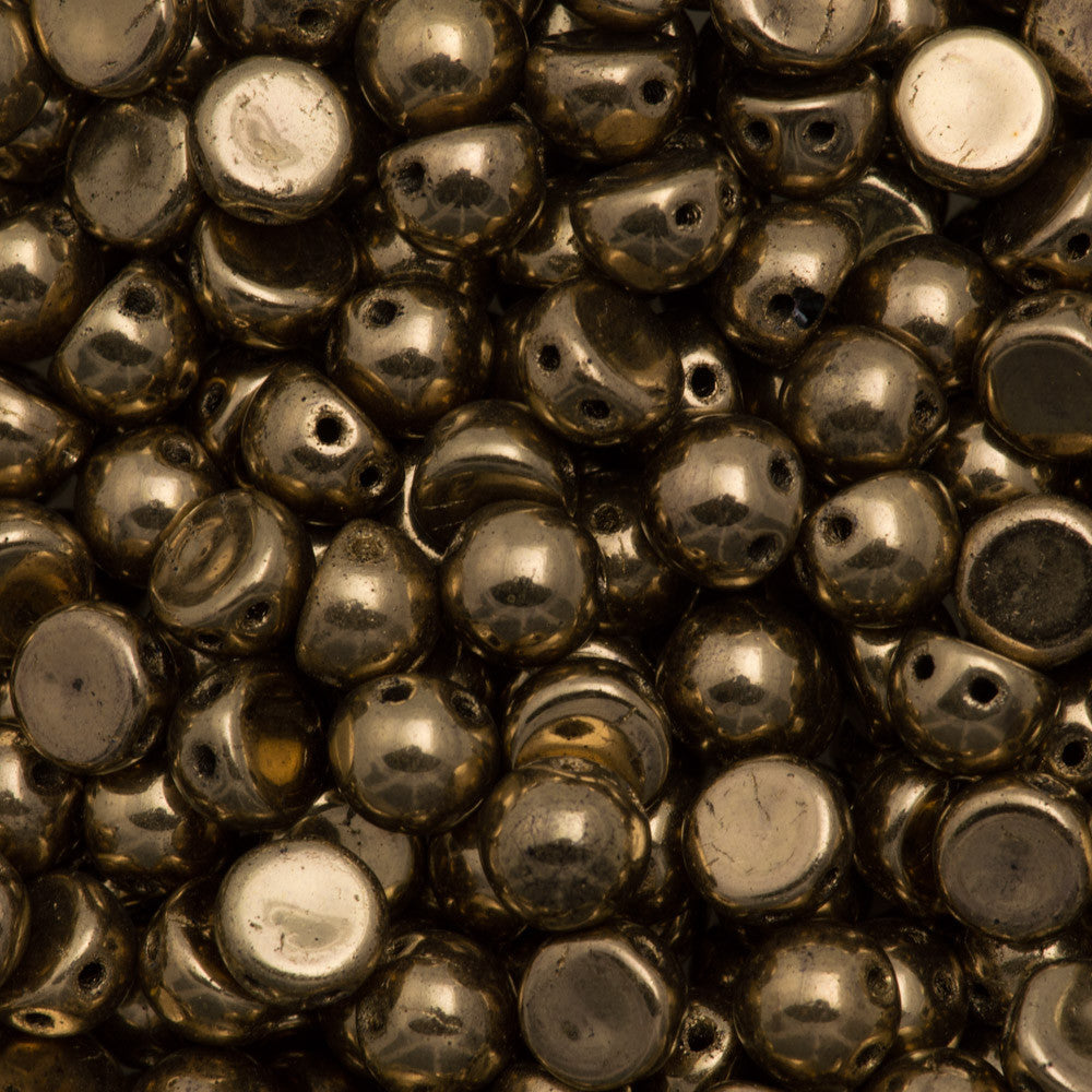 CzechMates 7mm Cabochon Two Hole Beads Bronze (90215)