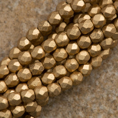 100 Czech Fire Polished 2mm Round Bead Matte Metallilc Flax (01710K)