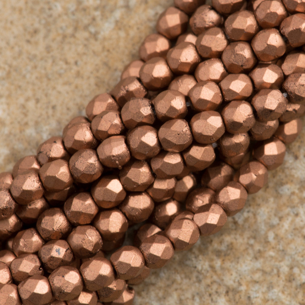 100 Czech Fire Polished 2mm Round Bead Matte Metallic Bronze Copper (01780K)