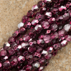 100 Czech Fire Polished 2mm Round Bead Cranberry Mirror (15226)