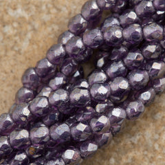 100 Czech Fire Polished 2mm Round Bead Tanzanite Luster (20510L)