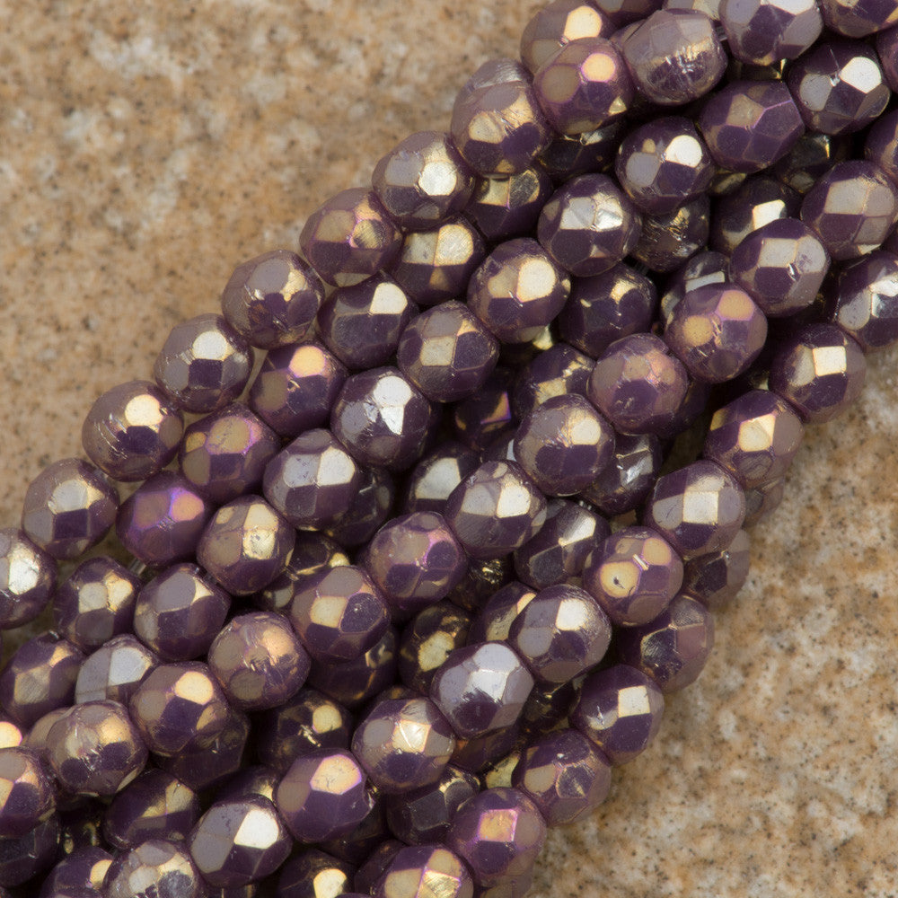100 Czech Fire Polished 2mm Round Bead Opaque Light Amethyst Luster Iris (23030LR)