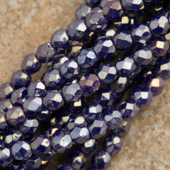 100 Czech Fire Polished 2mm Round Bead Navy Blue Luster Iris (33070LR)
