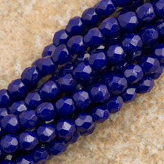 100 Czech Fire Polished 2mm Round Bead Navy Blue (33070)