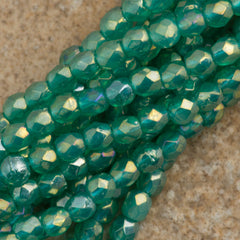 100 Czech Fire Polished 2mm Round Bead Atlantic Green Luster Iris (52060LR)