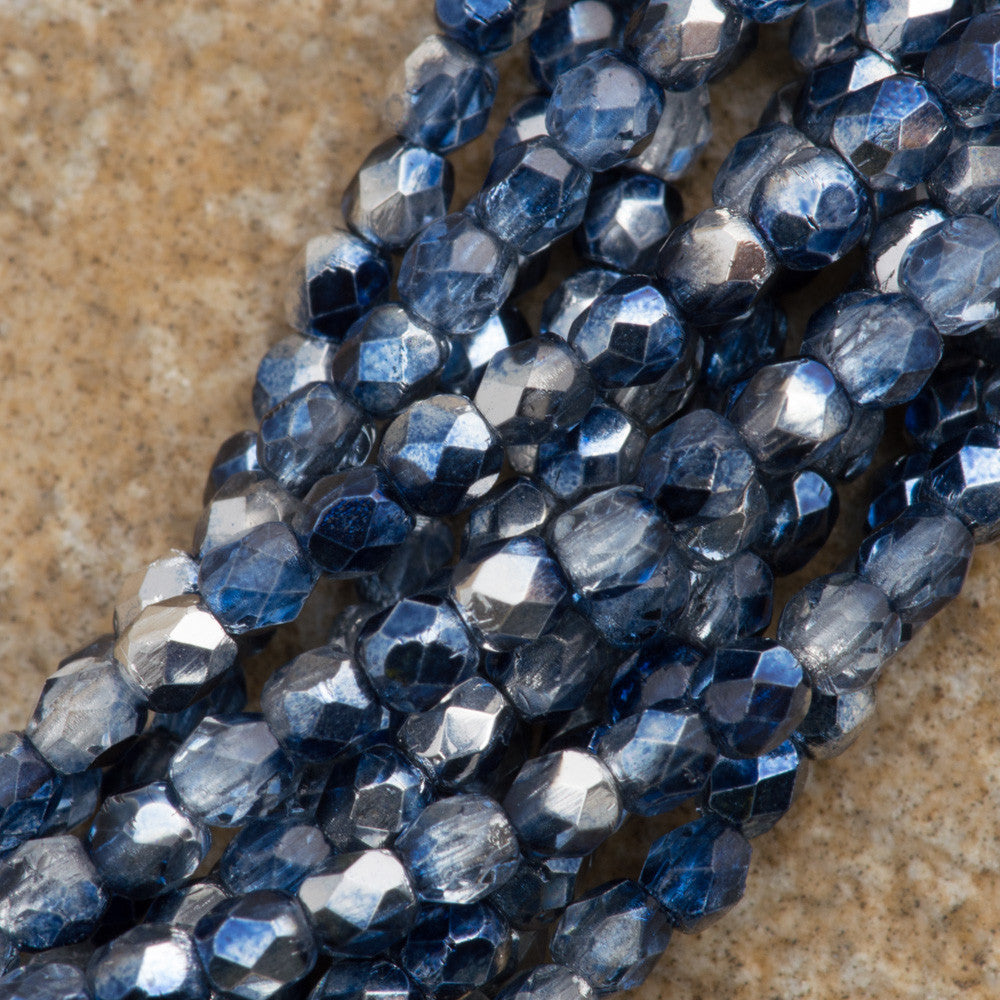 100 Czech Fire Polished 2mm Round Bead Denim Mirror (53080K)