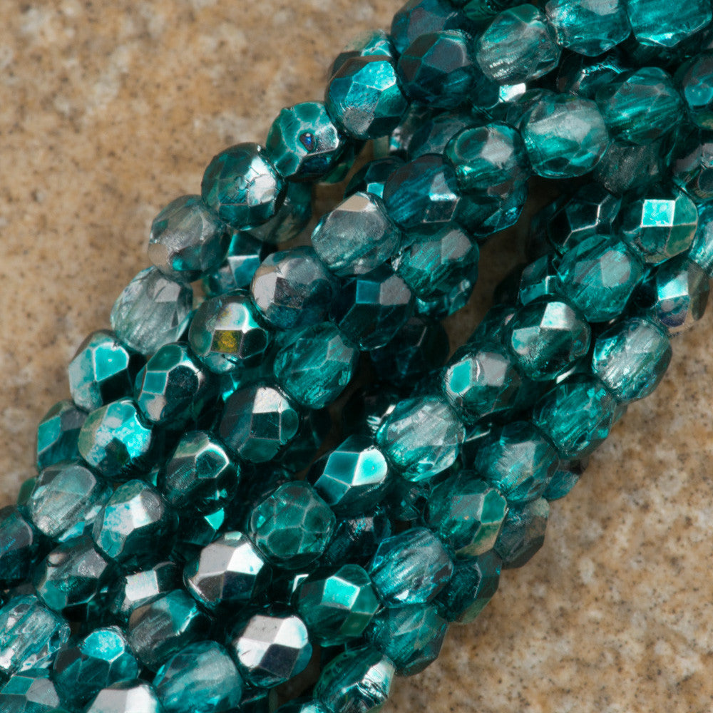 100 Czech Fire Polished 2mm Round Bead Teal Mirror (55130K)