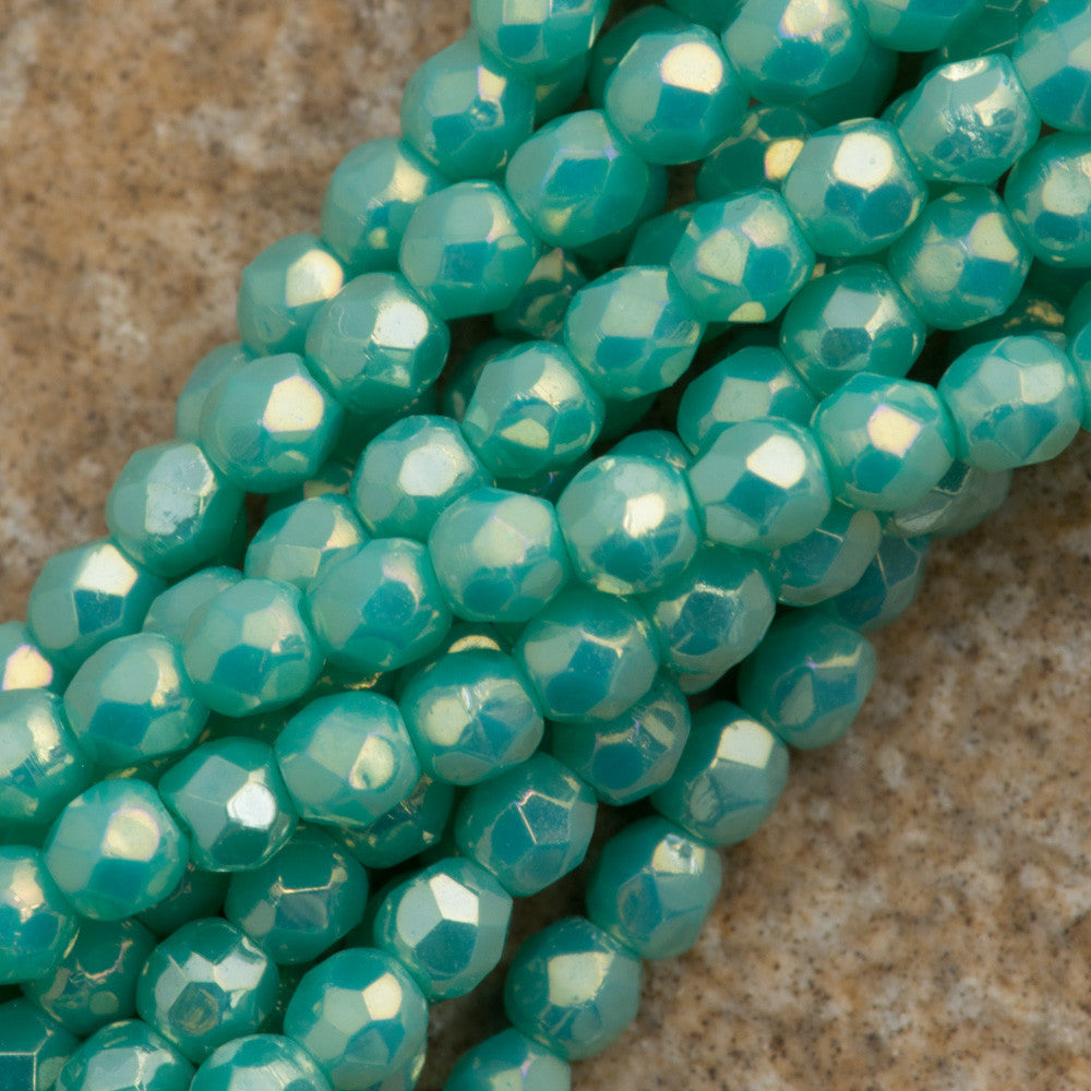 100 Czech Fire Polished 2mm Round Bead Turquoise Luster Iris (63130LR)